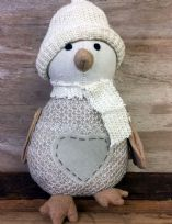 Cream & Brown Knitted Winter Penguin in Hat Doorstop